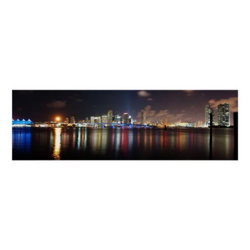 Panorama de la noche de Miami - poster