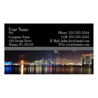 Panorama de la noche de Miami - tarjeta de visita