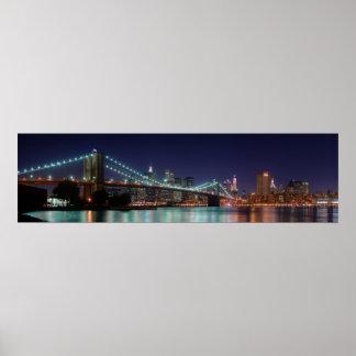 Panorama de la noche del puente de Brooklyn Póster