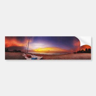 Panorama de la playa tropical pegatina para auto