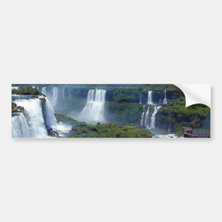 Panorama de las cascadas de Iguazu del Brasil Etiqueta De Parachoque