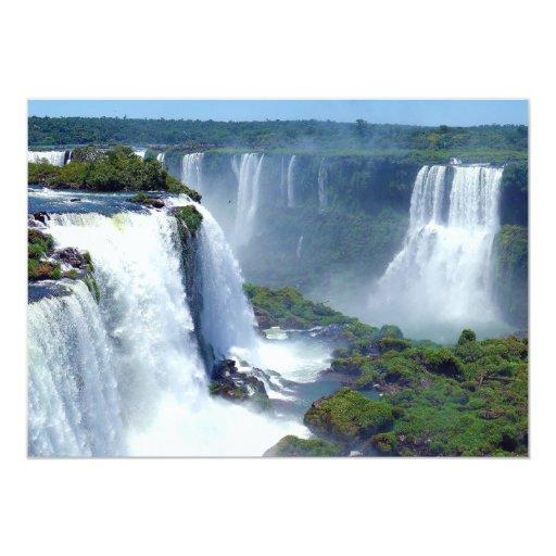 Panorama de las cascadas de Iguazu del Brasil Invitación 12,7 X 17,8 Cm
