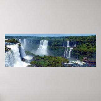 Panorama de las cascadas de Iguazu del Brasil Poster