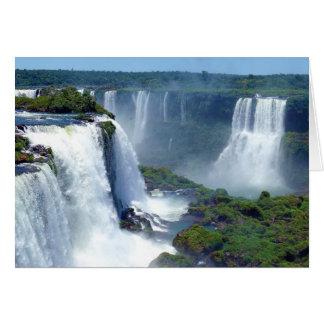 Panorama de las cascadas de Iguazu del Brasil Felicitación