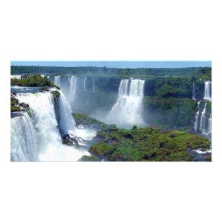 Panorama de las cascadas de Iguazu del Brasil Tarjeta Fotografica Personalizada