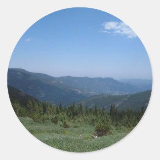 Panorama de las montañas rocosas de Colorado Pegatina Redonda