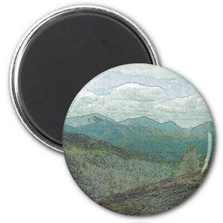 Panorama de los picos de montaña de Adirondack Imán Redondo 5 Cm