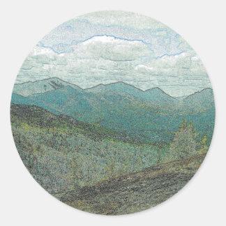 Panorama de los picos de montaña de Adirondack Pegatina Redonda