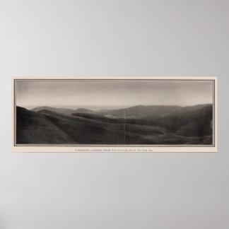 Panorama de los picos gemelos del oeste al mar posters