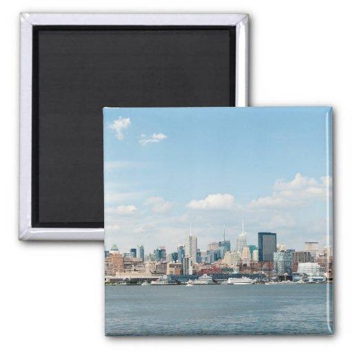 Panorama de Midtown Manhattan sobre el río Hudson Imán Cuadrado