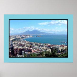 Panorama de Nápoles (Italia) Póster