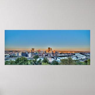 Panorama de Pittsburg céntrica Poster