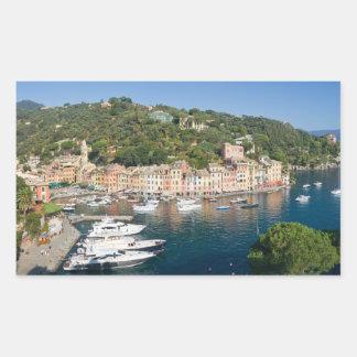 Panorama de Portofino Pegatina Rectangular