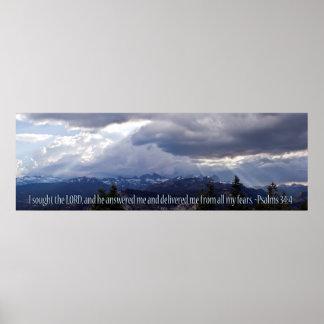 Panorama del 34:4 de los salmos póster