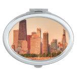 Panorama del horizonte de Chicago en la salida del Espejo Maquillaje