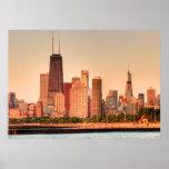 Panorama del horizonte de Chicago en la salida del Póster
