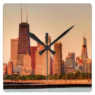 Panorama del horizonte de Chicago en la salida del Reloj Cuadrado