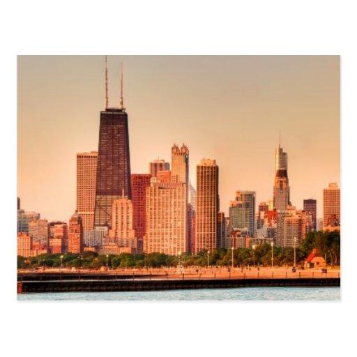 Panorama del horizonte de Chicago en la salida del Tarjetas Postales