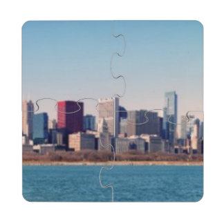 Panorama del horizonte de Chicago Posavasos De Puzzle