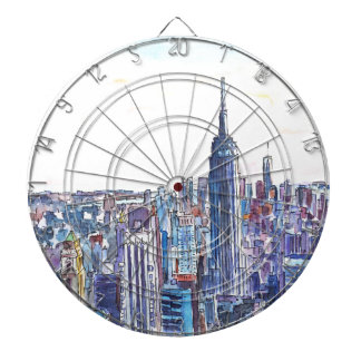 Panorama del horizonte de Manhattan en acuarela