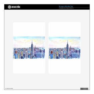 Panorama del horizonte de Manhattan en acuarela Pegatina Skin Para Kindle Fire
