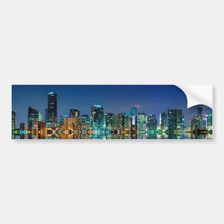 Panorama del horizonte de Miami Etiqueta De Parachoque