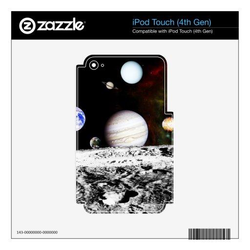 Panorama del planeta de la superficie de la luna calcomanías para iPod touch 4G