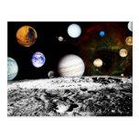 Panorama del planeta de la superficie de la luna tarjeta postal