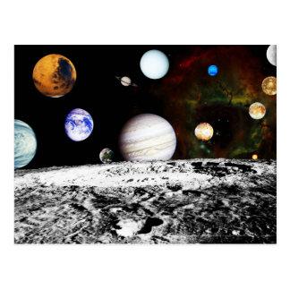 Panorama del planeta de la superficie de la luna tarjetas postales