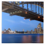 Panorama del puente de puerto de Sydney, ópera de  Azulejos
