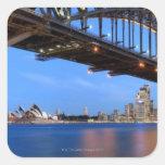 Panorama del puente de puerto de Sydney, ópera de Pegatina Cuadrada