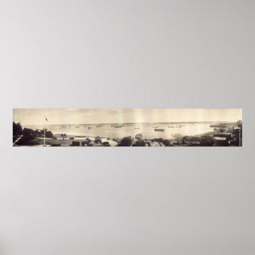 Panorama del puerto de Portland, Maine circa 1910 Posters