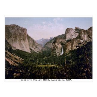 Panorama del valle de Yosemite, vintage California Tarjetas Postales