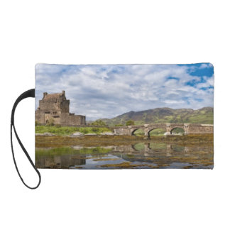 Panorama Eilean Donan Castle viewed from south Wristlet Clutches