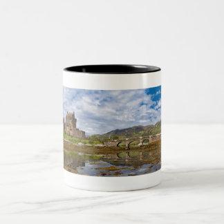 Panorama Eilean Donan Castle viewed from south Two-Tone Coffee Mug