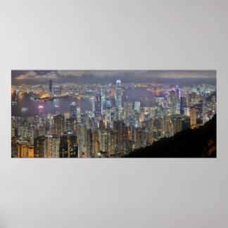 Panorama Hong Kong China Night Skyline Poster