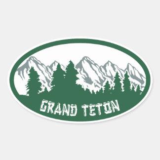 Panorama magnífico del parque nacional de Teton Pegatina Ovalada