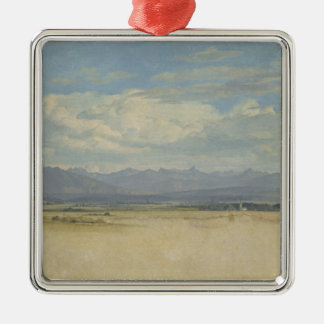Panorama montañoso soleado, 1829 adorno cuadrado plateado