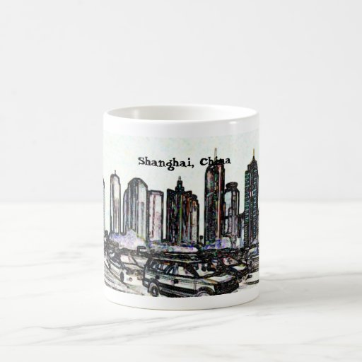 Panorama mug2 del rascacielos de Shangai China Tazas