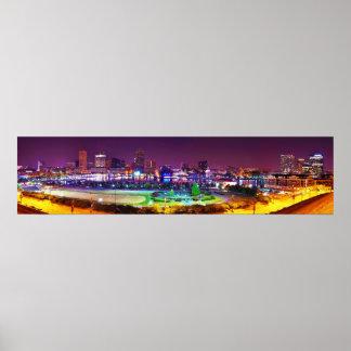 Panorama of Baltimore's Inner Harbor Night Skyline Poster