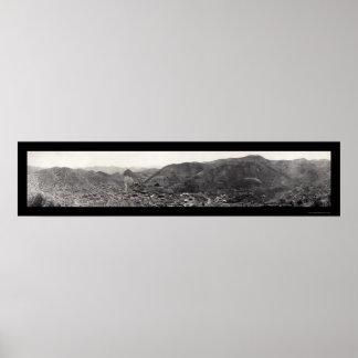Panorama of Bisbee AZ Photo 1909 Poster