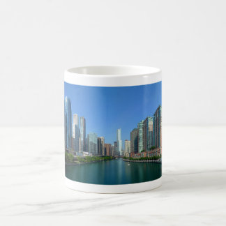 Panorama of Buildings Along Chicago River Coffee Mug