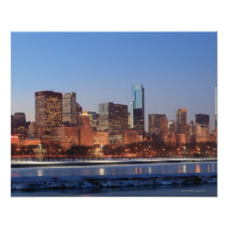 Panorama of Chicago, Illinois across Lake Poster
