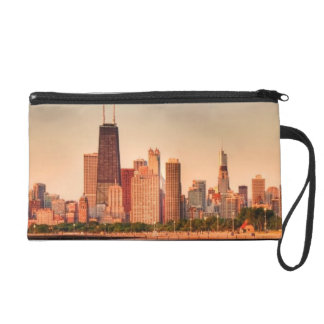 Panorama of Chicago skyline at sunrise Wristlet