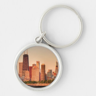 Panorama of Chicago skyline at sunrise Keychain