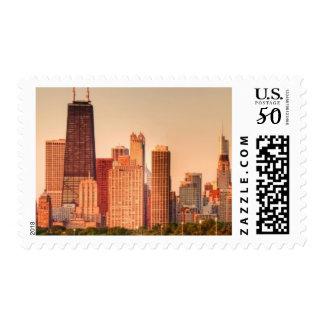 Panorama of Chicago skyline at sunrise Postage