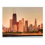 Panorama of Chicago skyline at sunrise Postcard