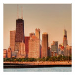 Panorama of Chicago skyline at sunrise Print