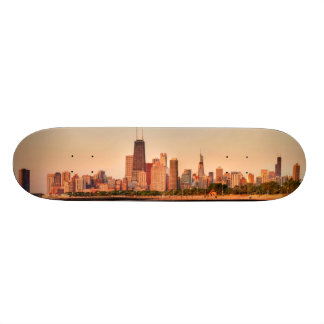 Panorama of Chicago skyline at sunrise Skateboard Deck