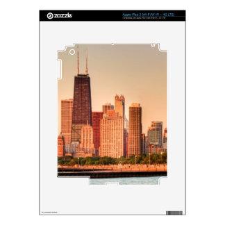 Panorama of Chicago skyline at sunrise iPad 3 Skins
